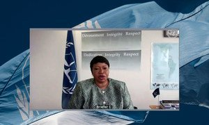 Fatou Bensouda, Chief Prosecutor of the International Criminal Court (ICC), briefs Security Council members during the open video conference in connection with the International Criminal Court and Sudan.