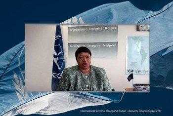 فاتو بنسودا، المدعية العاعة للمحكمة الجنائية الدولية، تقدم إحاطة إلى أعضاء مجلس الأمن خلال جلسة افتراضية مفتوحة فيما يتعلق بالمحكمة الجنائية الدولية والسودان.