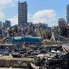 مشاهد من الدمار في منطقة المرفأ جراء الانفجار الهائل الذي وقع في بيروت بلبنان.