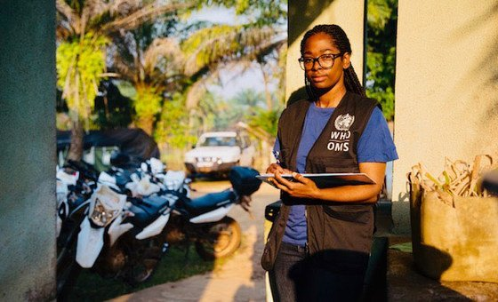 Marie-Roseline Darnycka Bélizaire, an epidemiologiist with the World Health Organisation, at work in Itipo, Democratic Republic of the Congo.