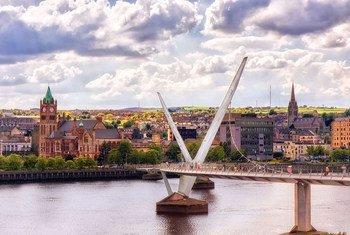 The Peace Bridge in Derry, Northern Ireland.