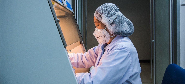 Técnico de laboratório trabalha em um centro de saúde e ciências em Bangkok, Tailândia. É um Centro Colaborador da OMS para pesquisa e treinamento em zoonoses virais