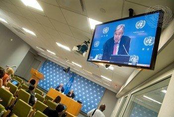"""الأمين العام يعقد مؤتمرا صحفيا قبل الدورة السادسة والسبعين للجمعية العامة للأمم المتحدة، ويقدم تقريره الجديد المعنون """"خطتنا المشتركة""""."""