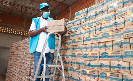 Soap is prepared for distribution by UNHCR in a warehouse in eastern Democratic Republic of the Congo.