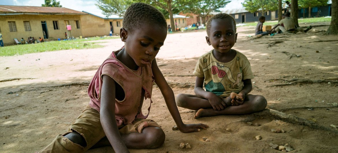 Children displaced by violence play in a school yard in eastern Democratic Republic of the Congo.