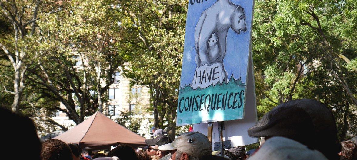 纽约公众游行要求采取气候行动。