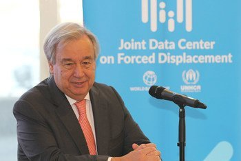 UN Secretary-General António Guterres speaks at a press conference while attending  the opening of the UNHCR/World Bank Joint Data Centre on Forced Displacement in Copenhagen, Denmark.
