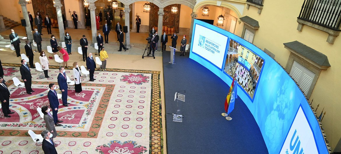 Virtual meeting at El Pardo Palace in Madrid in support of the Declaration on the commemoration of the 75th anniversary of the United Nations.
