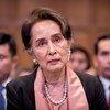 म्याँमार की राजनैतिक नेता आंग सान सू ची, संयुक्त राष्ट्र के हेग स्थित अन्तरराष्ट्रीय न्यायालय में पेश होते हुए (10 दिसम्बर 2019)
