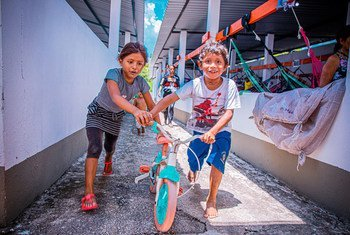 Venezuelan refugee children play at a shelter in Manaus, Brazil.