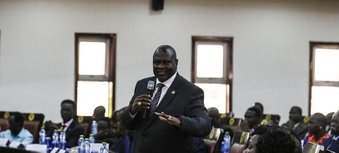 Riek Machar Leader of Sudan People's Liberation Movement In-Opposition at a meeting with Security Council members in Juba, South Sudan