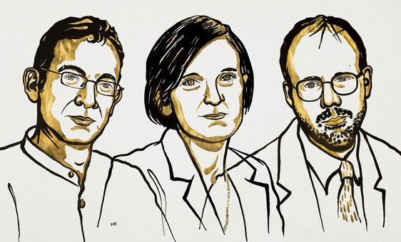 诺贝尔经济学奖获得者阿比吉特·班纳吉和埃丝特·迪弗洛和迈克尔·克雷默