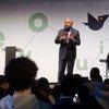 Le Secrétaire général de l'ONU, António Guterres, s'adresse au public lors d'une cérémonie à Lisbonne alors que la ville portugaise reçoit le prix de la capitale verte 2020, décerné par la Commission européenne.