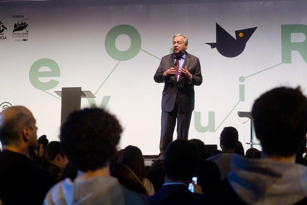 Photo : CML/Luís Filipe Catarino - António Guterres à Lisbonne, la capitale verte 2020, pris décerné par la Commission européenne.