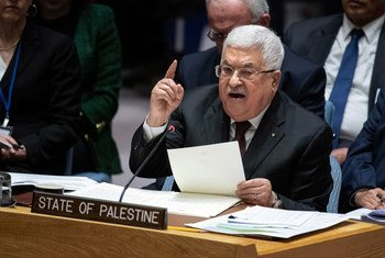 El presidente del Estado de Palestina, Ahmoud Abbas, se dirige al Consejo de Seguridad de la ONU.
