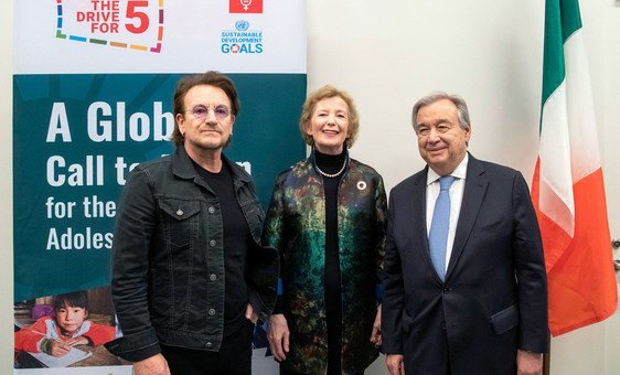 Secretary-General António Guterres (right) meets with Bono (left), Co-Founder of the ONE Campaign and Mary Robinson, Chair of the Elders, prior to the high-level event at the United Nations focused on Girls' Education.