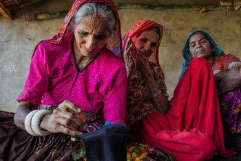 Women artisans from Barara village in Gujarat's Patan district doing traditional embroidery.