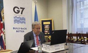 El Secretario General, António Guterres, en un encuentro virtual con la prensa durante su participación en la Cumbre del G7 en el Reino Unido.