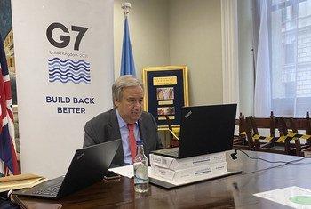 秘书长安东尼奥·古特雷斯向新闻界介绍了他对在英国举行的七国集团首脑会议的期望。