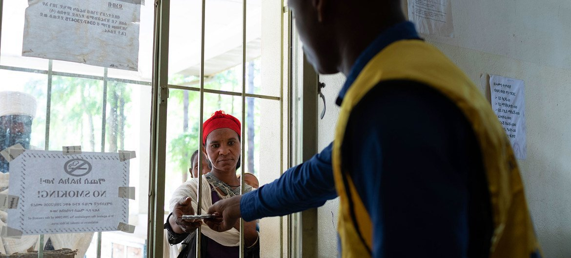 A woman receives medicine at a health centre in the Tigray region of Ethiopia.