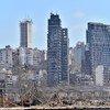 مشهد من مرفأ بيروت بعد الانفجار الهائل الذي هز العاصمة اللبنانية في 4 آب/أغسطس.