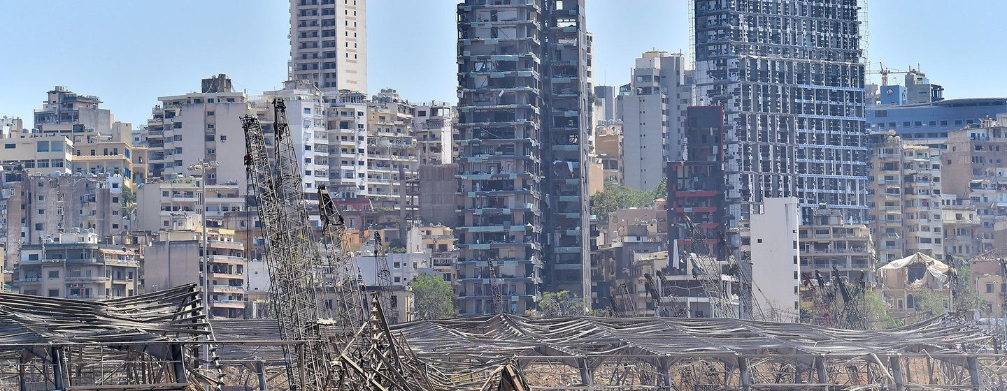 A view of the port area devastated by the massive explosion that took place on 4 August in Beirut, Lebanon.