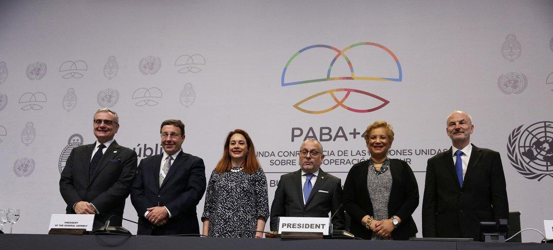 联合国南南合作办公室主任豪尔赫·切迪克(左一)出席今年3月在阿根廷首都布宜诺斯艾利斯举行第二届联合国南南合作高级别会议