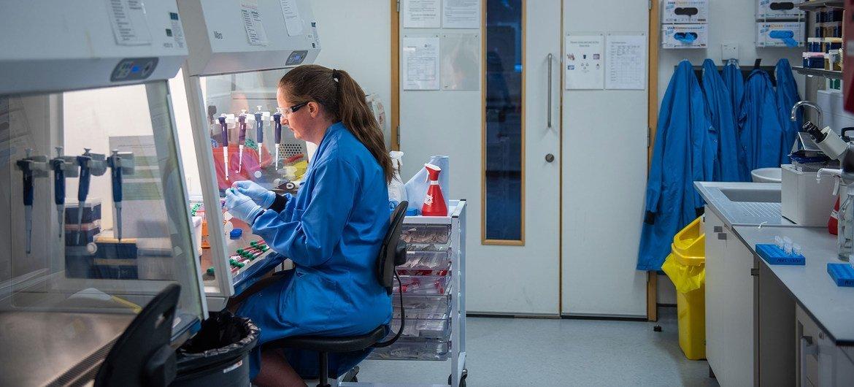 Científicos trabajando en la Universidad de Oxford para desarrollar una vacuna contra el COVID-19.