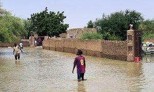 إحدى الاحياء المتضررة من الفيضانات في العاصمة السودانية الخرطوم.