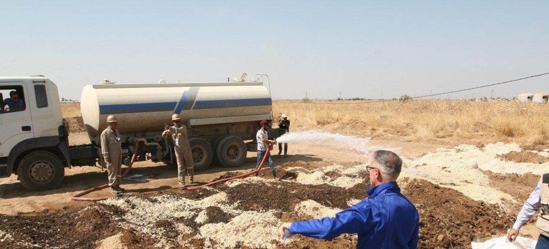 Le Programme des Nations Unies pour l'environnement (PNUE) organise un atelier sur l'assainissement des sites contaminés par les hydrocarbures dans les zones touchées par le conflit à Kirkouk, en Iraq.
