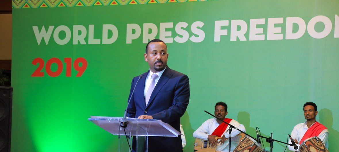 The Ethiopian Prime Minister Abiy Ahmed addresses the World Press Freedom 2019 event in Addis Ababa.