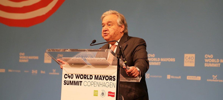 联合国秘书长安东尼奥·古特雷斯在丹麦哥本哈根举行的2019年C40世界市长峰会上讲话。