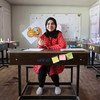 A girl student in Basra, Iraq, who benefits from a UNICEF/WFP education stipend programme