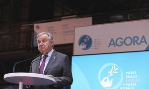 Secretary-General António Guterres delivers remarks at the Paris Peace Forum in Paris, France.