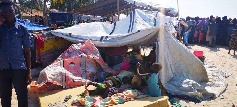 莫桑比克德尔加杜角为躲避暴力而流离失所的百姓。