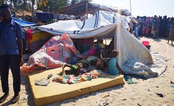 Na capital de Cabo Delgado, Pemba, grupo de deslocados devido a atividade terrorista