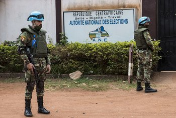 MINUSCA peacekeepers securing the Headquarter of the National Elections Authority, the Central African institution in charge of the organization of the 2020-2021 elections.