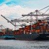 Navires porte-conteneurs dans un port de Seattle, États-Unis.