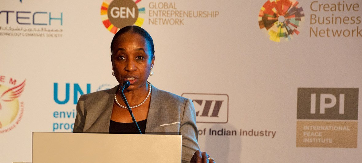 Ms. Fatou Haidara, the Managing Director, Policy and Programme Support of UNIDO, speaking at the opening session of the Global Forum for Entrepreneurs and Investment held in Manama, Bahrain.