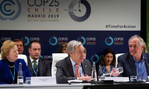 UN Secretary-General António Guterres (centre) addresses the high-level meeting on Caring for Climate at the UN Climate Change Conference COP25 in Madrid.