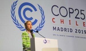 La activista Greta Thunberg se dirige a los líderes mundiales en la COP25