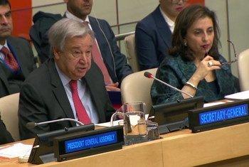 الأمين العام للأمم المتحدة أنطونيو غوتيريش،متحدثا خلال الجلسة الأولى لمؤتمر حول إنشاء منطقة شرق أوسط خالية من الأسلحة النووية وغيرها من الأسلحة الأخرى ذات الدمار الشامل.