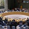 Una vista panorámica de la sala del Consejo de Seguridad durante la adopción de una resolución sobre Libia.