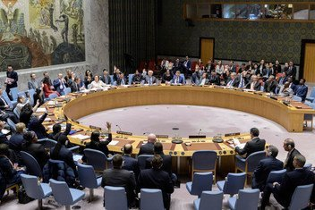 A wide view of the UN Security Council chamber as members vote to adopt resolution 2510 on Libya (file photo).