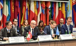 Vladimir Voronkov (2nd left), Under-Secretary-General of the UN Office of Counter-Terrorism, addresses the regional conference in Vienna on challenges posed by foreign terrorist fighters.