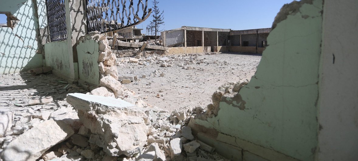 Kansafra elementary school in Idlib, northwestern Syria, came under attack in February 2020.