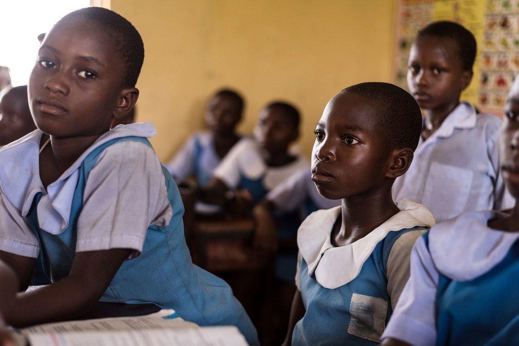 Des écoliers de l'école primaire d'Urie, dans l'État du Delta, au Nigeria.