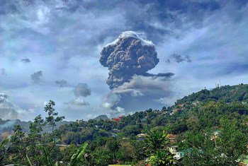 Plumes of ash billow from the La Soufrière volcano on the island of St. Vincent and the Grenadines which started erupting on 9th April.