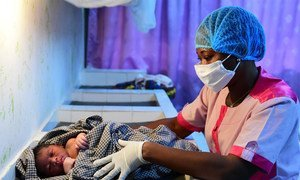 Nurses are wearing masks and gloves to protect against the Coronavirus, in the health center of Port Bouet, a suburb of Abidjan, in the South of Côte d'Ivoire.
