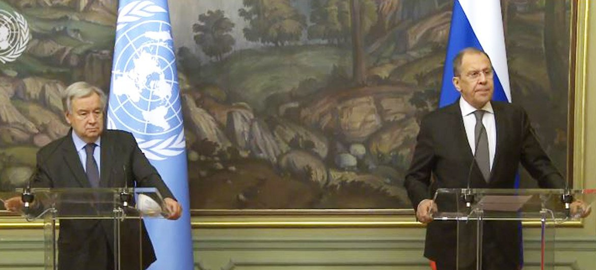 UN Secretary General Antonio Guterres  and Russia's MFA Sergey Lavrov speaking to the press after talks in Moscow.